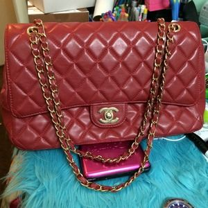 Handbags - Red Quilted double flap 🌸price negotiable🌸
