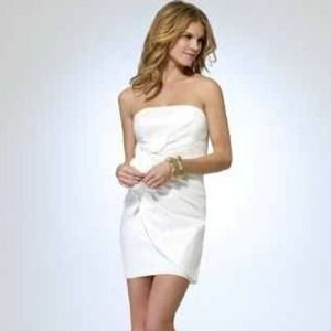 ISO Cache white strapless mini dress