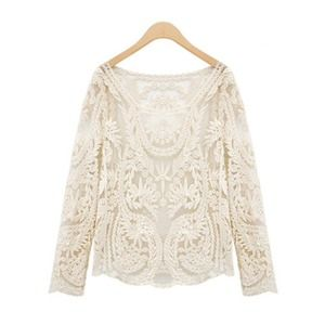 Hannah Beury Tops - Beige Lace Top-Medium
