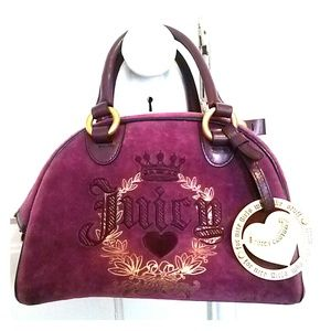 Purple velour JUICY COUTURE bowler handbag
