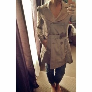 Satin Silver Trench Coat