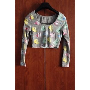 NWOT Candy Cats Crop Long Sleeve