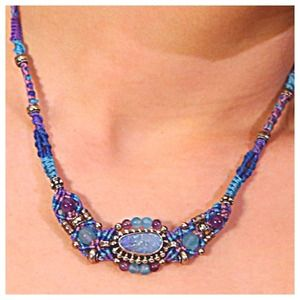 Opal and Sterling with Amethyst Beadwork Necklace