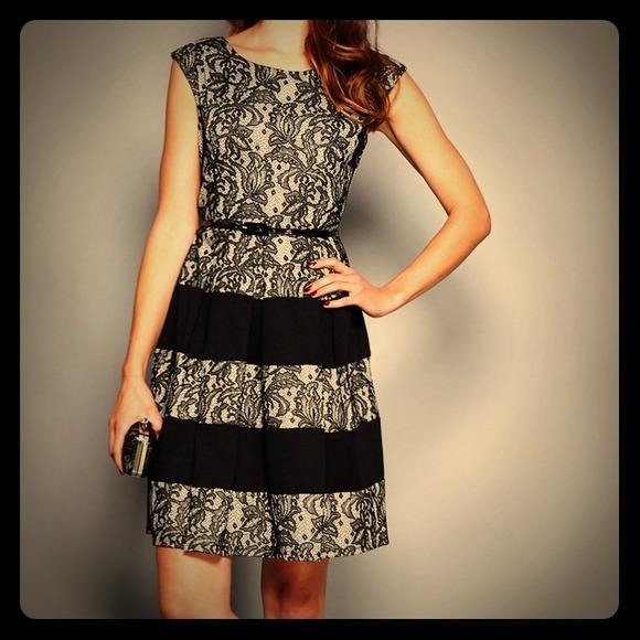 Tiana B Black And Ivory Lace Dress Nwt