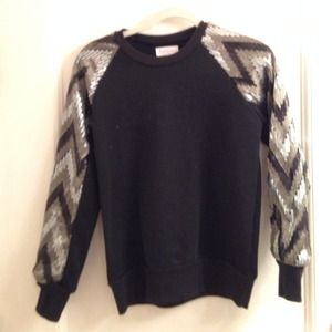 dahlia Sweaters - Crew neck sweatshirt with sequin sleeves