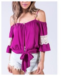 Tops - Orchid Pink Off The Shoulder Gypsy Top, White Lace