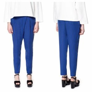 Zara Pants - Zara Blue Crossover Stripe Pants
