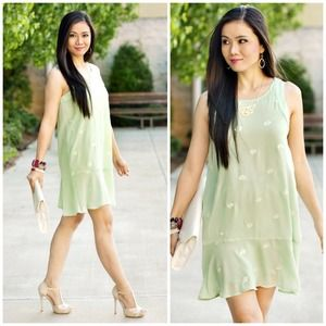 Seafoam Green Diamond Drop Waist Dress
