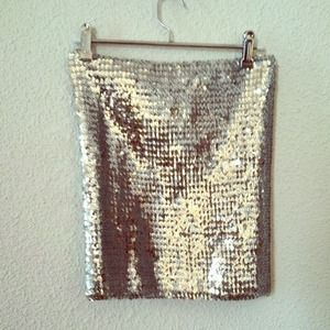 Zara silver sequined tube top