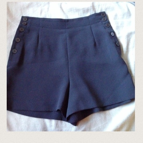 74% off Pants - High waisted navy blue shorts with side buttons ...