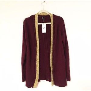 Very J Jackets & Blazers - Oversized braided contrast knit sweater