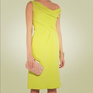 Elegant Chartreuse Lela Rose Asymmetrical Dress