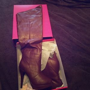 Red/burgundy leather boots NEVER WORN!!!