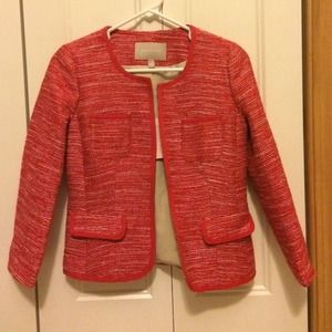 Banana Republic Red and White Tweed Jacket
