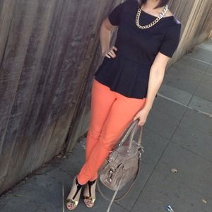 Orange Skinny Denim