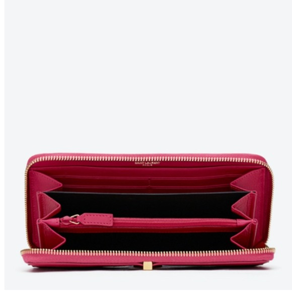 Yves Saint Laurent Bags - Auth YSL hot pink Y line zip around leather wallet