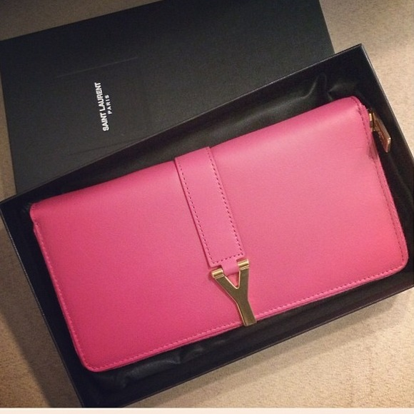 Yves Saint Laurent Clutches & Wallets - Auth YSL hot pink Y line zip around leather wallet