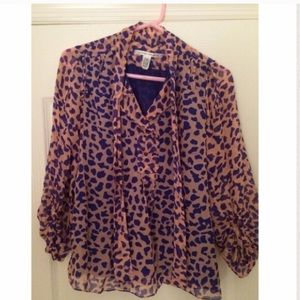 DVF pink and purple leopard print blouse