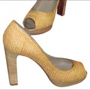 Valentino Straw Peep Toe Pumps 39.5 NWT