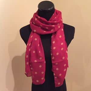 Accessories - NEW Sheer Burgundy and Tan Polka Dot Scarf