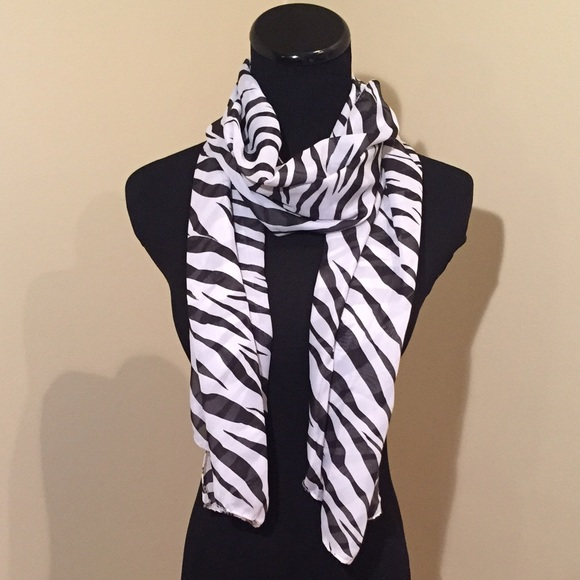New sheer black white zebra print scarf
