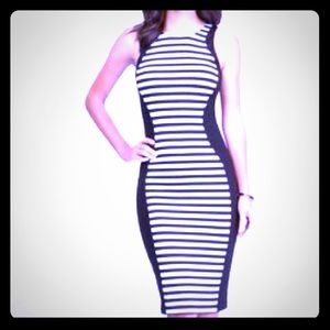 bebe stripped midi dress