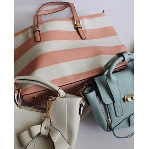 Color block Stripe Pink Beach Tote