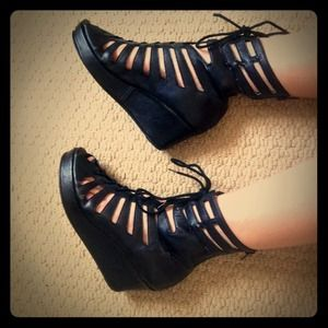 Jeffrey Campbell lace up wedge black leather