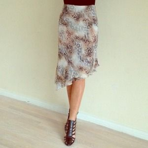 Italian animal print & lace illusion skirt