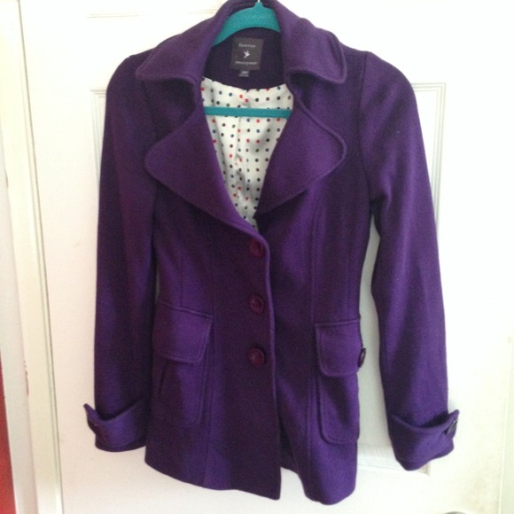 31% off Forever 21 Jackets & Blazers - Purple Peacoat from Jaime's ...