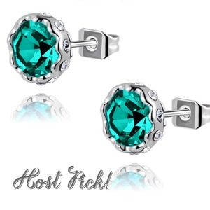 Jewelry - 18K platinum plated teal Austrian crystal studs