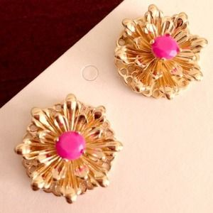 Banana Republic flower studs in gold & magenta