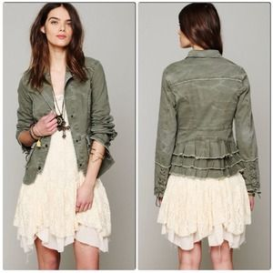 FREE PEOPLE Green Ruffle Back Twill Jacket Small