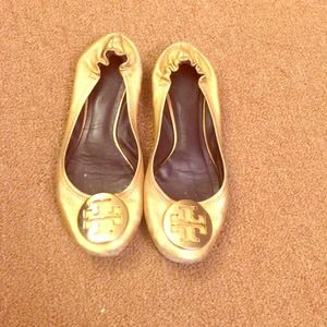 Authentic Gold Tory Burch flats