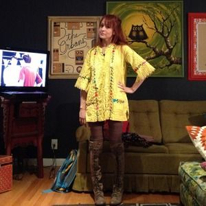 BUNDLED Vintage Yellow Mxcan Embroidered Dress