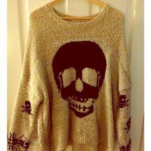 Sweaters - Oversized Knit Skull Sweater
