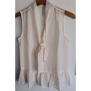 Tops - Ivory Tie Front Sleeveless Top