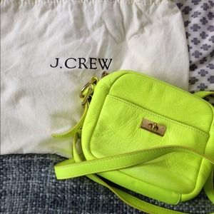 J Crew neon leather cross body bag!