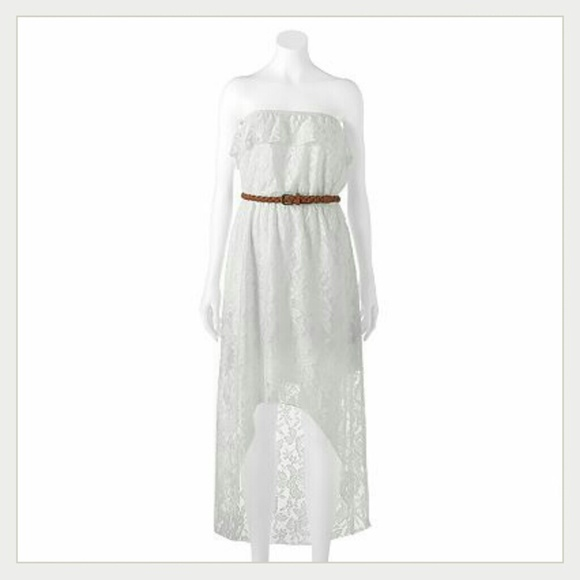 Trixxi dresses lace white strapless
