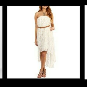 Trixxi Dresses & Skirts - Macys White Lace Hi-Low Strapless dress