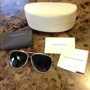 New! BALENCIAGA White Aviator Sunglasses **