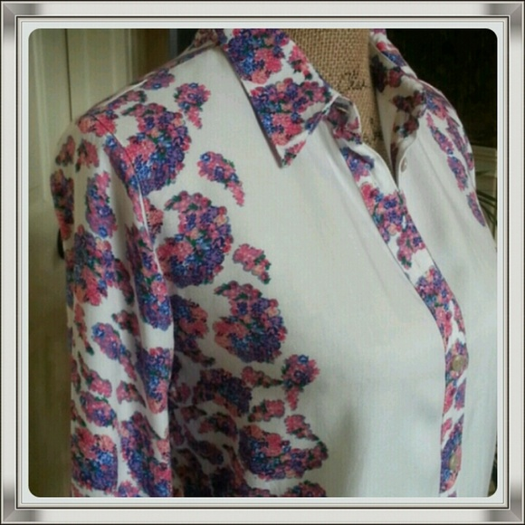 ronson Tops - Stop and smell the roses white floral shirt