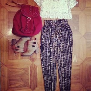 Pants - Silky tribal print pants