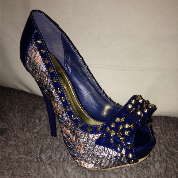 64% off Shoes - Navy Blue and Lace Heels with Gold spike accents ...