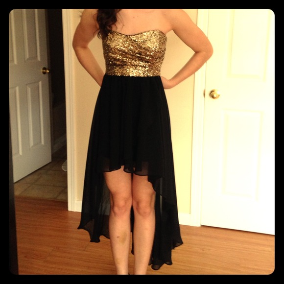 50% off Dresses & Skirts - Strapless,black and gold. High-low ...