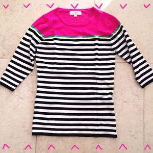 Sweaters - Black, White & Pink Striped Lightweight Sweater