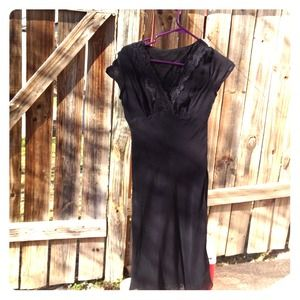 Black vintage lace dress with slip included.