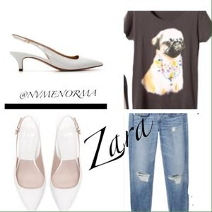 Zara Shoes - Zaras White Kitten patent leather