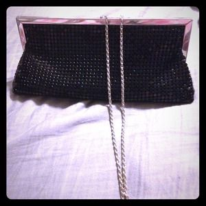 Black metal mesh clutch