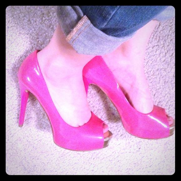 Bright Pink Peep Toe Heels